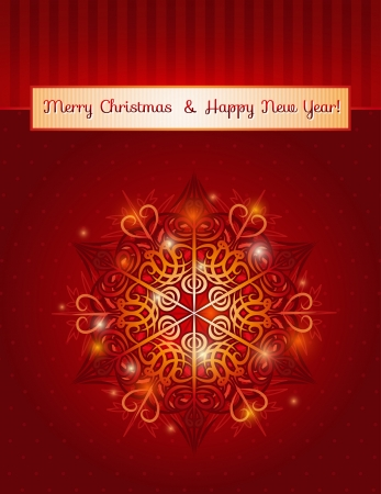 red background with big snowflake and text,  illustration Contains transparent objects Vector