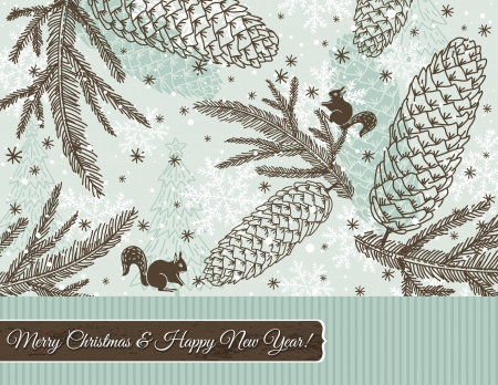 christmas background with cone, squirrel and snowflakes,  illustration Vector