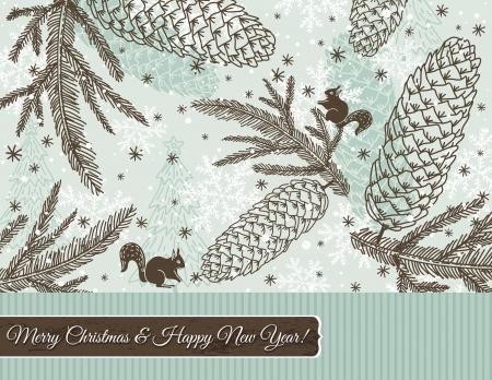 garabatos: Fondo de Navidad con el cono, la ardilla y copos de nieve, ilustración Vectores