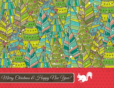 christmas background with forest of christmas trees Vector