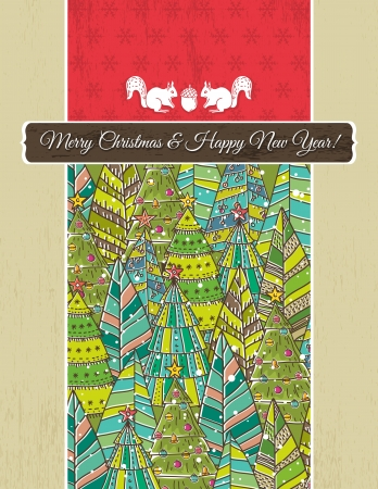 red squirrel: christmas background with forest of christmas trees