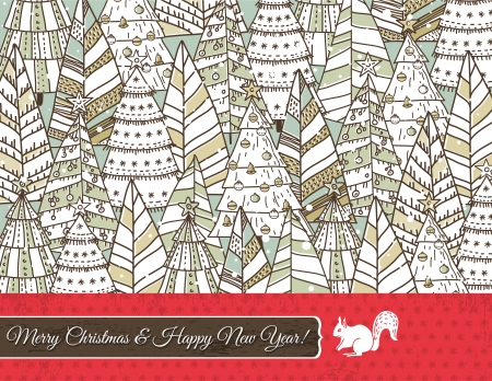 christmas background with forest of christmas trees, vector illustration Stock Vector - 15769363