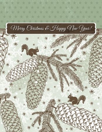 alder: christmas background with cone, squirrel and snowflakes, vector illustration Illustration