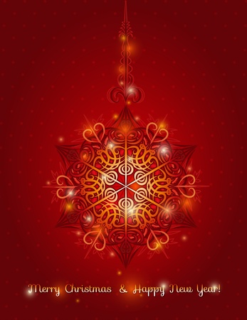 red background with big snowflake and text,  vector illustrationEPS10. Contains transparent objects Vector