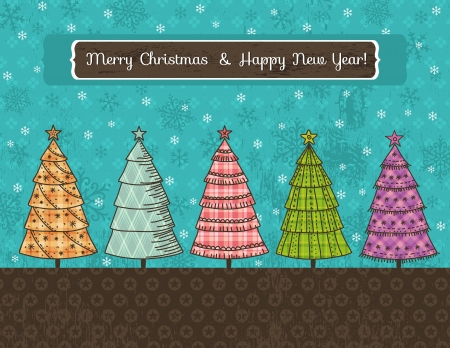 background with forest of christmas trees, illustration Vector