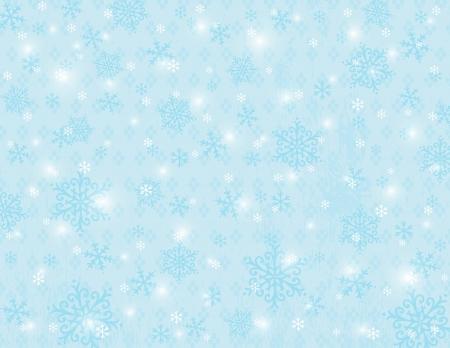 garabatos: fondo azul con copos de nieve, ilustraci�n