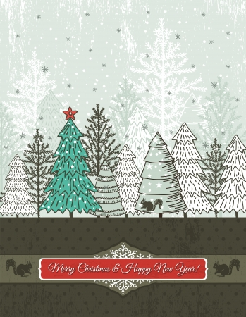 background with forest of christmas trees, vector illustration Vector
