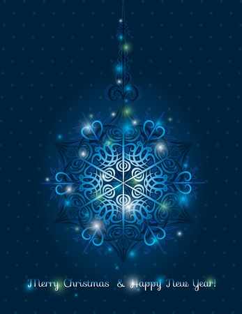 in vain: blue background with big snowflake and text,  vector illustration Illustration