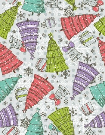 background with christmas trees, present and bell, vector illustration Vector