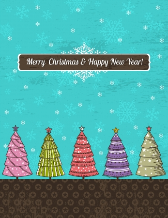 background with forest of christmas trees, vector illustration Stock Vector - 15930784