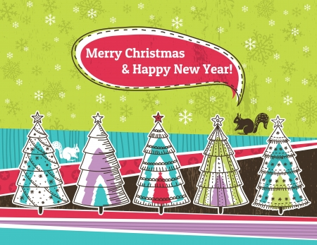 christmas background with forest of christmas trees, vector illustration Vector