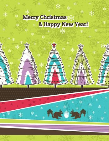 christmas background with forest of christmas trees, vector illustration Stock Vector - 16008792