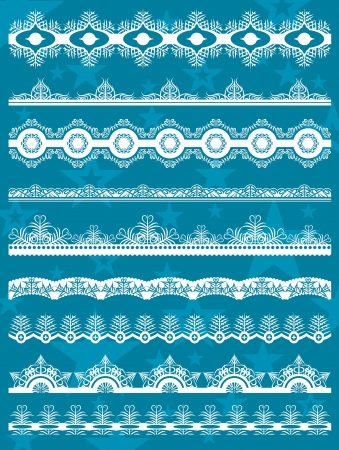 paper cut out: Set of Lace Paper  for christmas with snowflakes, vector