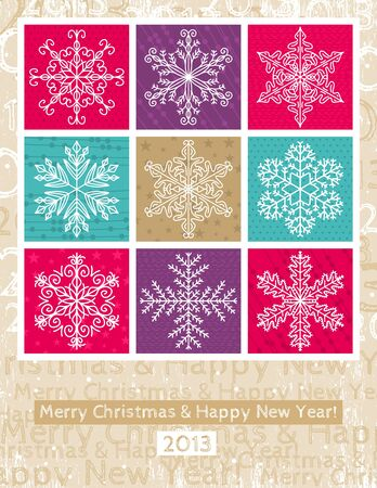 retro christmas background with hand draw snowflakes, vector illustration Stock Vector - 16189065