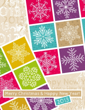 retro christmas background with hand draw snowflakes Vector