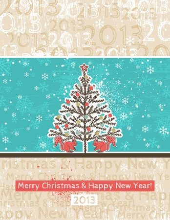 background with christmas tree and two squirrels Vector