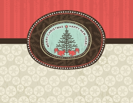 christmas background with snowflakes, squirrel and christmas tree, vector illustration Vector