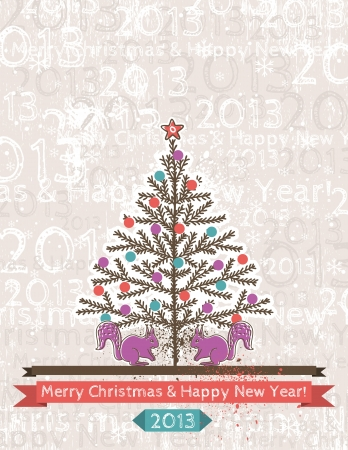 background with christmas tree and two squirrels, vector Stock Vector - 16402469