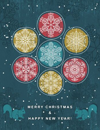 blue retro christmas background with hand draw snowflakes, vector illustration Vector