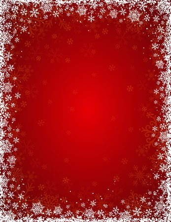snowflake border: red background with  frame of snowflakes,  vector illustration Illustration