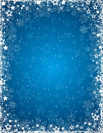 blue background with  frame of snowflakes,  vector illustration Vettoriali