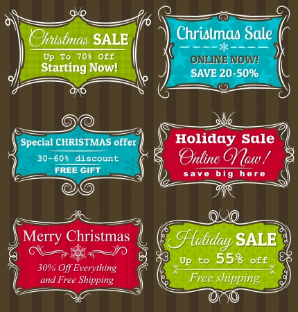 christmas promotion: Set of special sale offer labels and banners