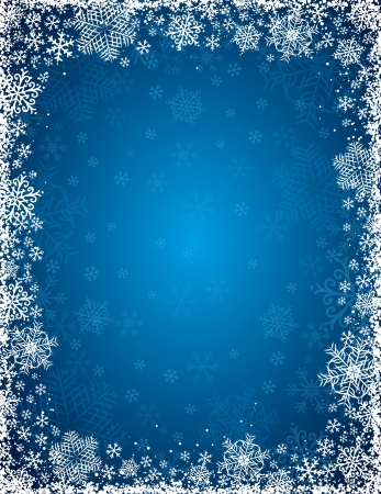 blue background with  frame of snowflakes,   illustration