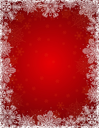 bright borders: red background with  frame of snowflakes,   illustration