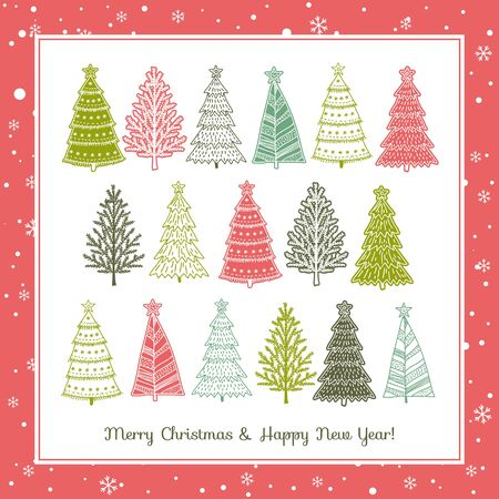 alder tree: christmas background with forest of christmas trees