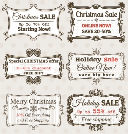 christmas market: Set of special sale offer labels and banners  Illustration
