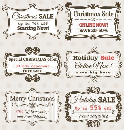 kerst markt: Set van speciale verkoop aanbieding etiketten en banners