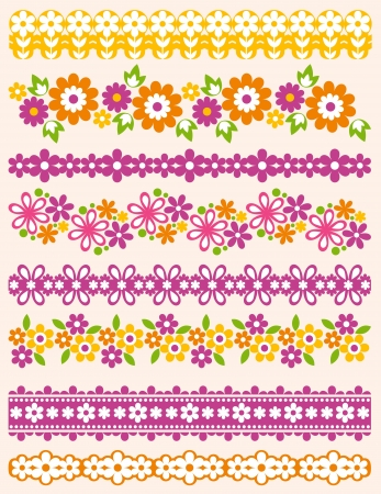 lace edges: Set of Lace Paper with flower, vector illustration