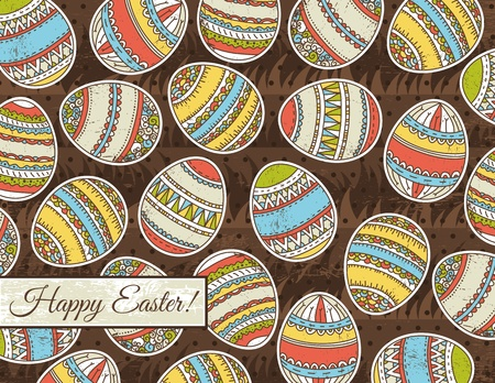 pasch: brown grunge background with easter eggs  Illustration