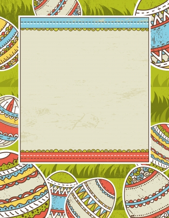 background with easter eggs and label for text  Stock Vector - 18586868
