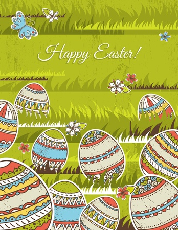 green background with easter eggs