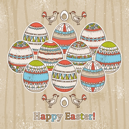 grunge background with easter eggs  Stock Vector - 18586872