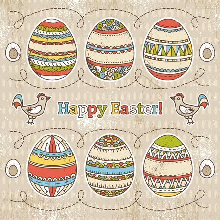 easter eggs on grunge  background,  Vector