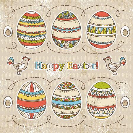 easter eggs on grunge  background, Stock Vector - 18637870