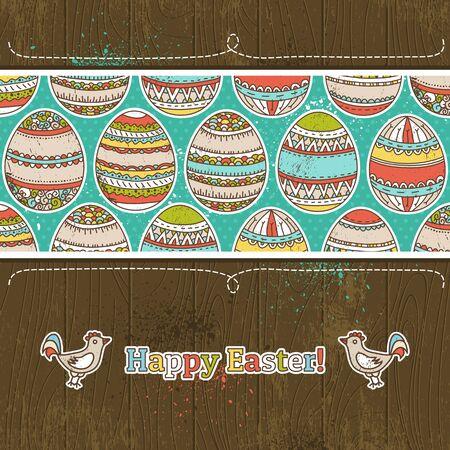 easter eggs on grunge  wooden background, Vector