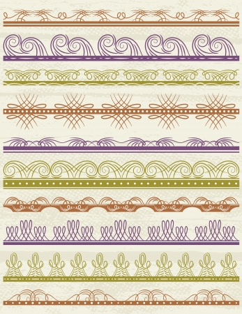 floral decorative borders, ornamental rules, dividers, vector Vector