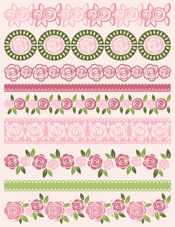 lace edges: Set of Lace Paper with roses, vector Illustration