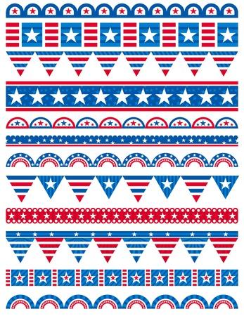 patriotic border: USA bordes decorativos, reglas ornamentales, separadores, vector