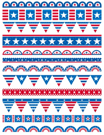 patriotic usa: USA decorative borders, ornamental rules, dividers, vector