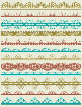 floral decorative borders, ornamental rules, dividers, vector Stock Vector - 19275169