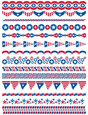 patriotic border: USA decorative borders, ornamental rules, dividers, vector