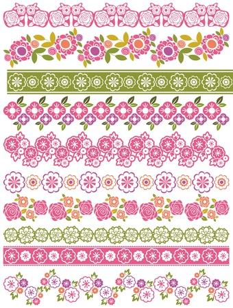 꽃과 잎으로 레이스 종이 세트