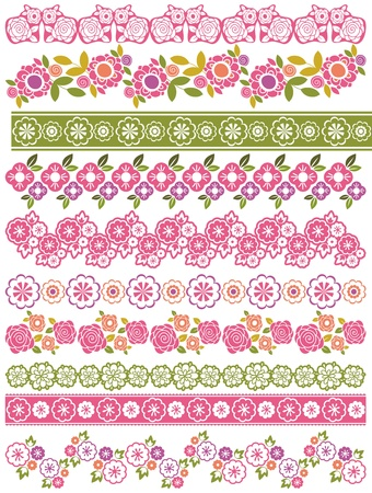 spring out: Conjunto de papel de encaje con flores y hojas