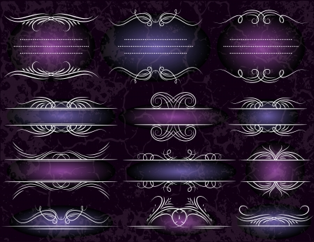 floral decorative borders, ornamental rules, dividers Vector