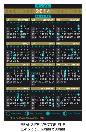 Pocket Calendar 2014, vector, start on Sunday with Phases of the moon  GMT Stock Vector - 20919681
