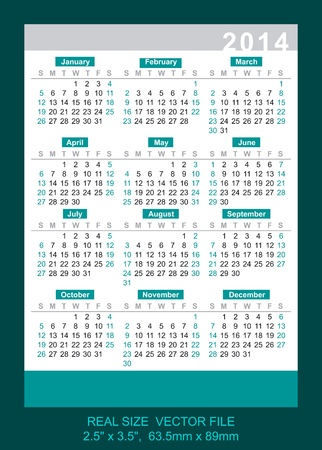 Pocket Calendar 2014, vector, start on Sunday, 63, 5mm x 89mm Vector